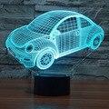Colorful Beetle Car 3D Luz Da Noite Levou Lâmpada Humor para Férias Lâmpada 3D USB Lâmpada 7 Cores Mudando Como Presente para As Crianças Amigos Menino