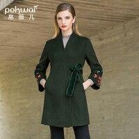 POKWAI 2018 осенне зимнее Новое модное кружевное тонкое шерстяное пальто средней длины с вышивкой корейское шерстяное пальто