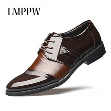 купить Black Brown Men Leather Dress Shoes Fashion Pointed Toe Lace Up Oxfords British Style Men Flat Shoes Breathable Wedding Shoes 2A по цене 1320.86 рублей