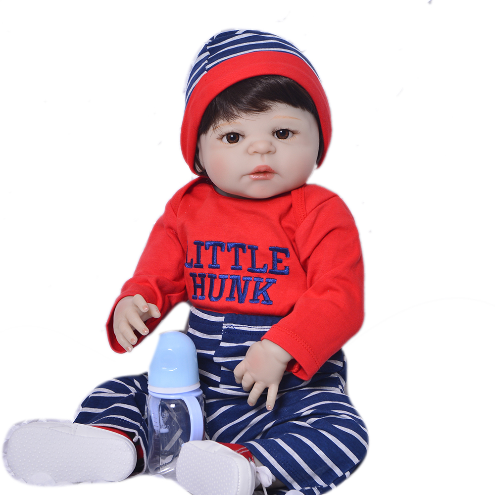 Lifelike Newborn Dolls 23'' Full Silicone Vinyl Baby Boy Doll Soft Lovely Boy Present Reborn Dolls Babies 57 cm Christmas Gifts christmas gifts in europe and america early education full body silicone doll reborn babies brinquedo lifelike rb16 11h10