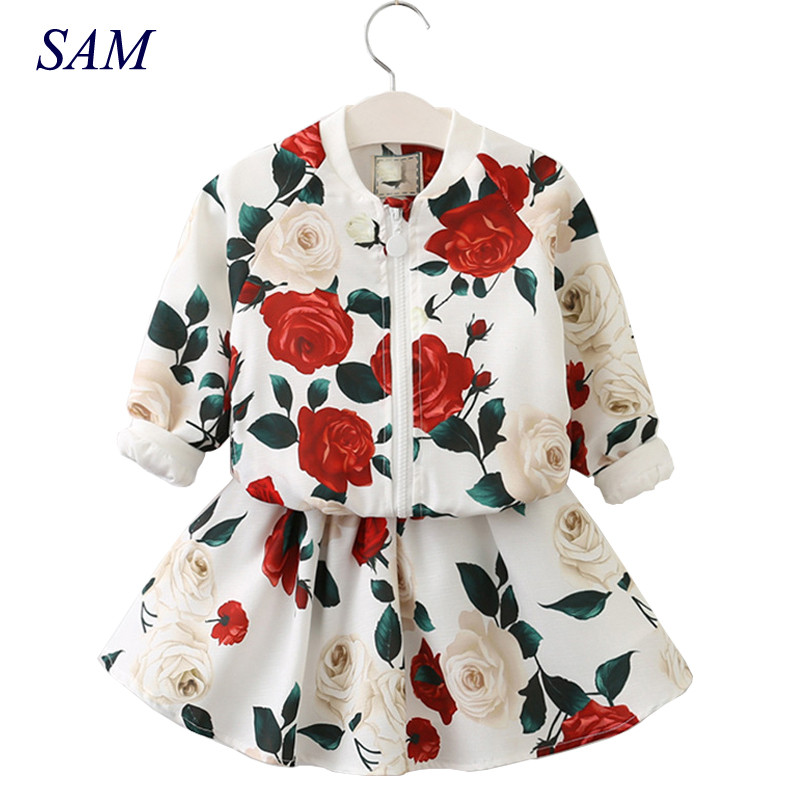 Girls Clothing Sets 2019 Fashion Girls Clothes Long Sleeve Floral Coats+Rose Floral Skirts 2Pcs Kids Clothing SetsGirls Clothing Sets 2019 Fashion Girls Clothes Long Sleeve Floral Coats+Rose Floral Skirts 2Pcs Kids Clothing Sets