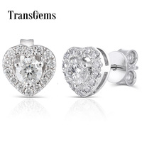Genuine 10K White Gold Post 0.78CTW Center 4mm H Nearly Colorless Moissanite Halo Stud Earring Silver Push Back