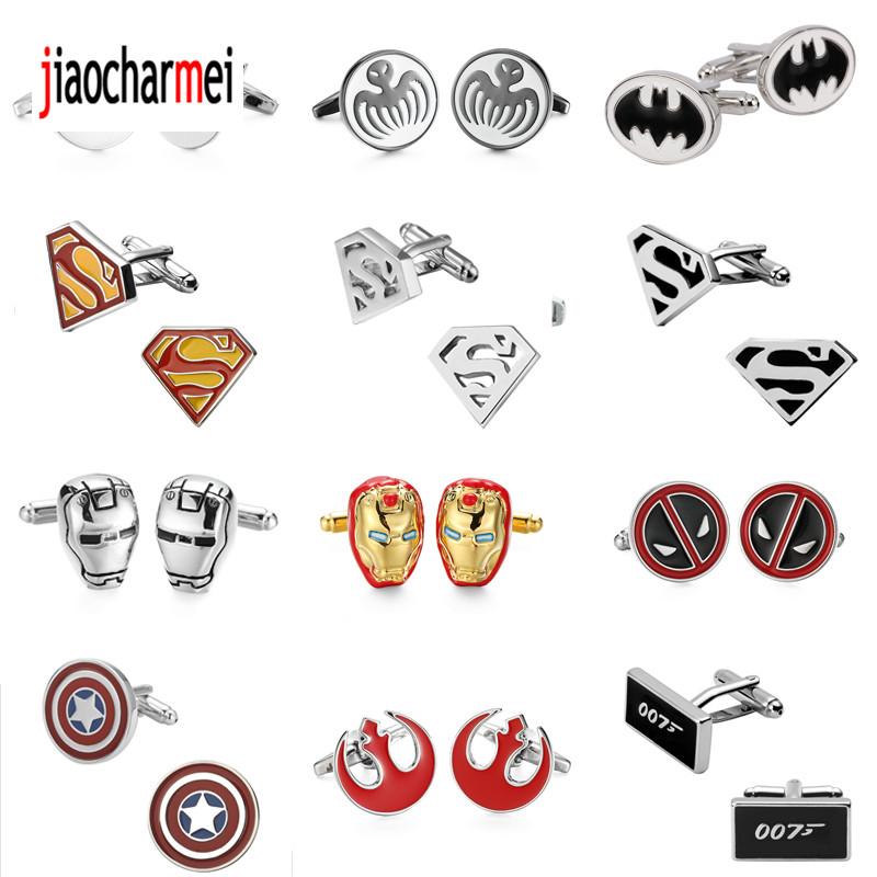 High-end men's brand Cufflinks / Batman / Superman / Captain America / iron man /007/ super hero design Cufflinks