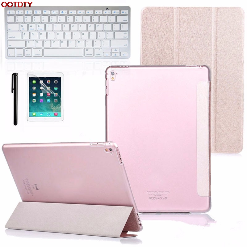 OOTDTY Computer Accessories Faux Leather Case Cover with Bluetooth Wireless Keyboard for iPad Pro 9.7 Gift