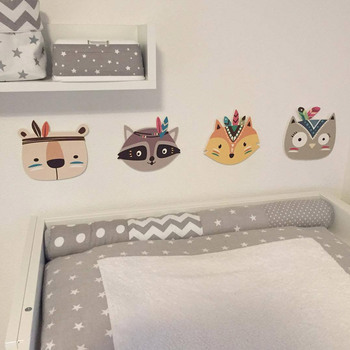 Nursery Childrens Room Boho Tribal Indian Cartoon Fox Cat Owl Bear Wall Prints Wall Sticker For Kids Baby Room Decoration Idea