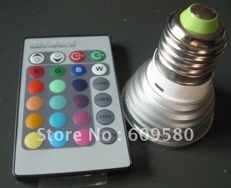FEDEX/ DHL FREE SHIPPING  RGB color change remote control LED light bulb, color change 3W LED bulb