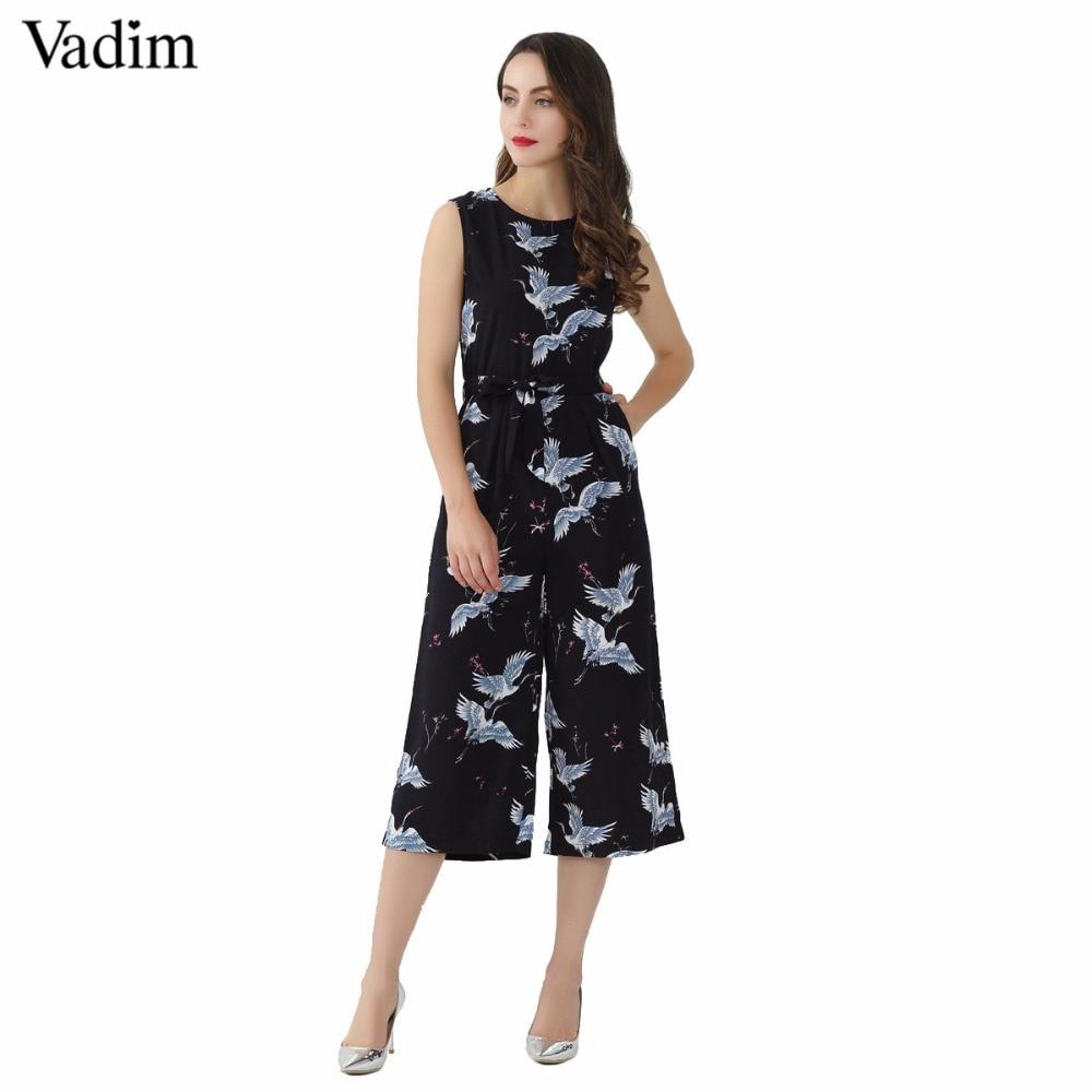 Vadim Women Cute Crane Print Jumpsuit Sashes Pockets Sleeveless Pleated Rompers Ladies Vintage Casual Jumpsuits Kz1016