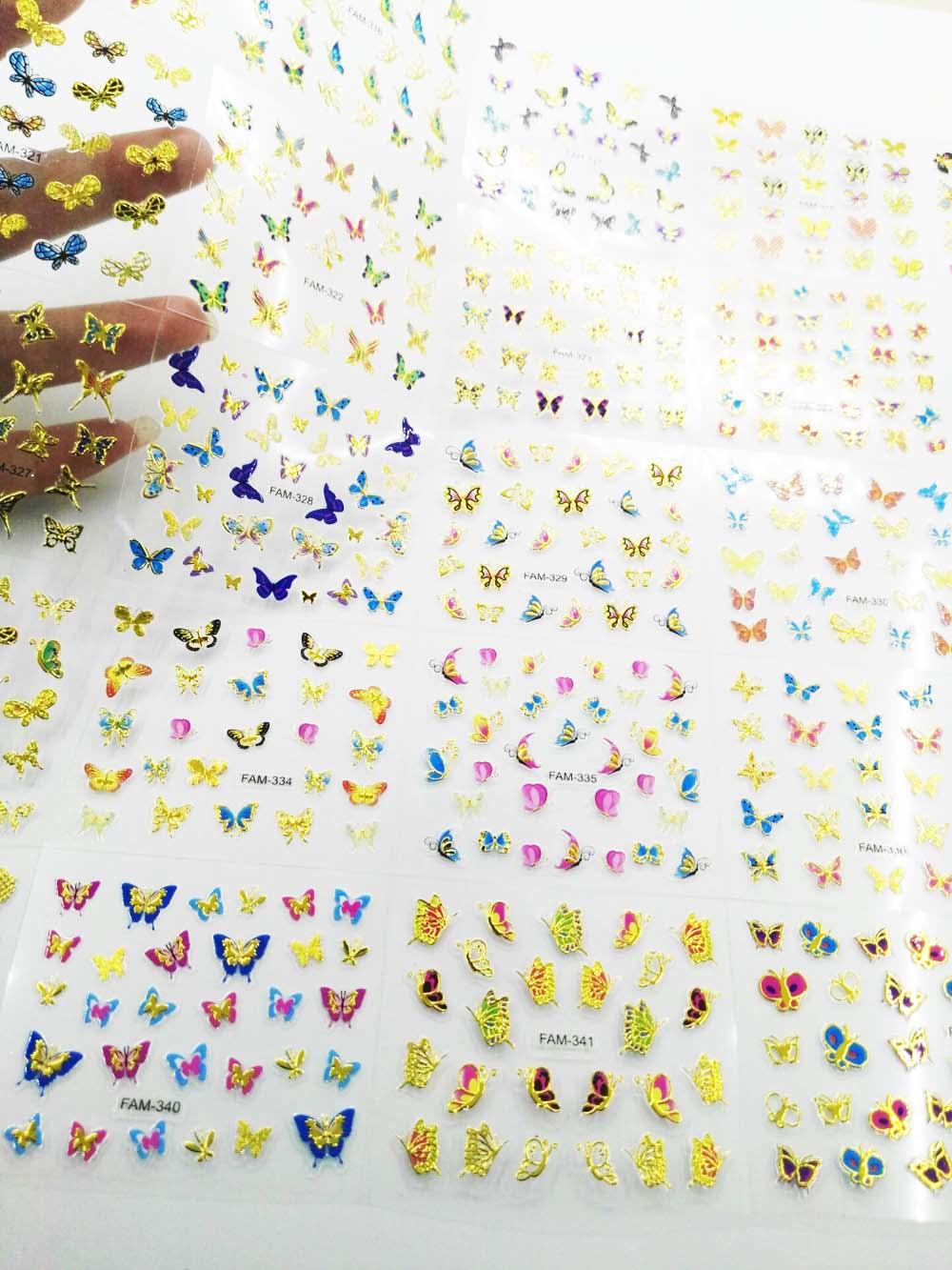 30 pçs/lote 30 Folhas Golutterfly/Multi-Cor Projetado Nail Sticker Art Dica DIY Adesivo Decalque Selo 3D Prego art Sticker Decoração