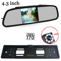 Free Shipping 4 3 Inch Car Rearview Mirror Monitor 8Leds HD CCD European Russia License Plate
