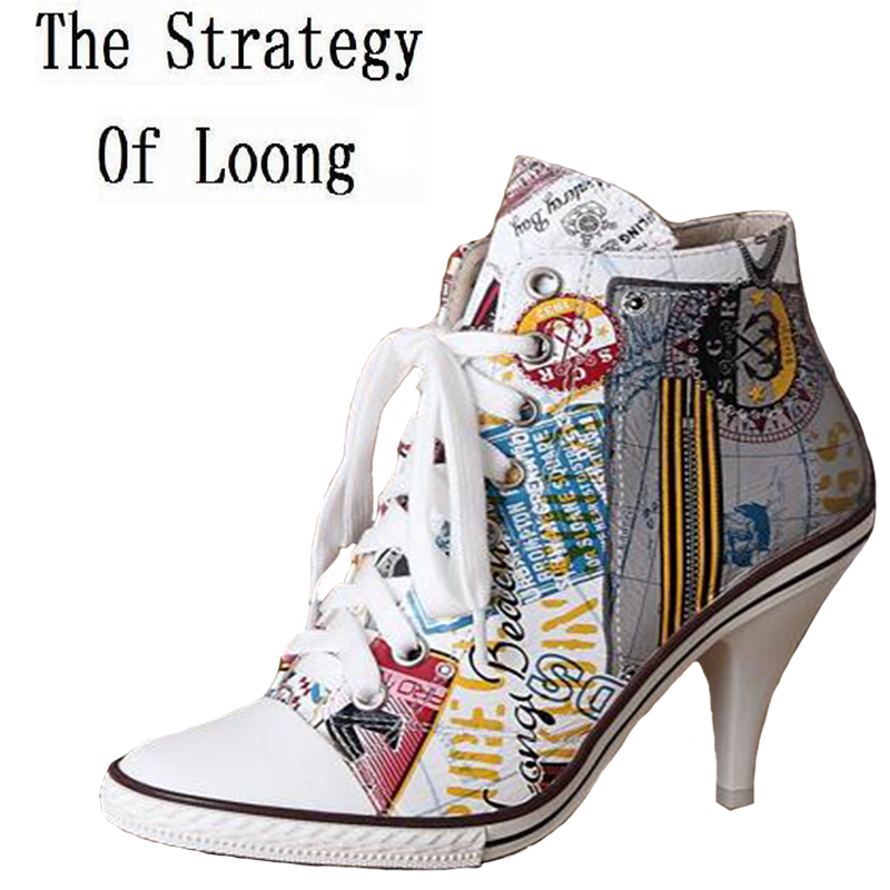 Korean Style Women Spring Autumn Genuine Leather High Heel Lace Up Printing High Top Fashion Shoes Size 34-41 SXQ0710 europe america style spring autumn women genuine leather thin high heel lace up low cut fashion denim shoes size 34 41 sxq0709