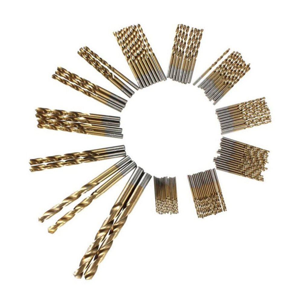 High Speed Steel Titanium Coated Twist Drill Bit Set Wood Drilling Hole Woodworking Wood Tool Ideal For DIY Home Building 13pcs set hss high speed steel twist drill bit for metal titanium coated drill 1 4 hex shank 1 5 6 5mm power tools accessories