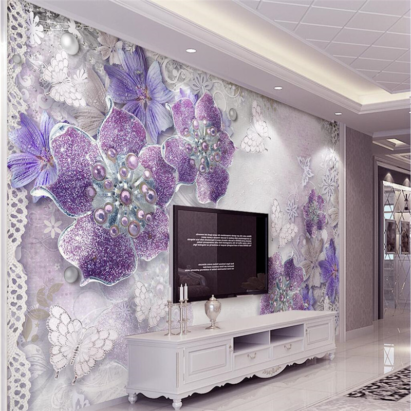 Wall Panel Wallpaper Purple Rose Jewelry Butterfly Background Modern Europe  Art Mural For Living Room Large Painting Home Decor