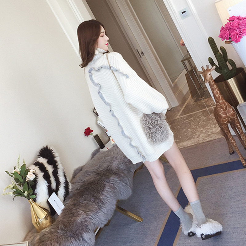 2018 nouveau femmes pull pull col roulé lanterne manches automne hiver vent négligent paresseux ensembles lâche tricot femme