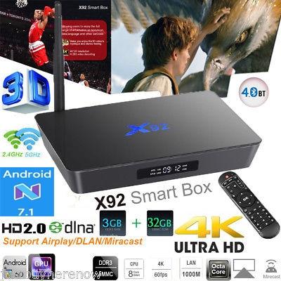5PCS X92 Amlogic S912 Android TV Box 7.1 2GB 3GB 16GB Octa Core Wifi HD2.0 4K x92 smart set top box BT4.0 4K Media Player x92 a912 ap6255 professional 2g 16g home tv box top s912 octa core cpu wireless entertainment player us plug type