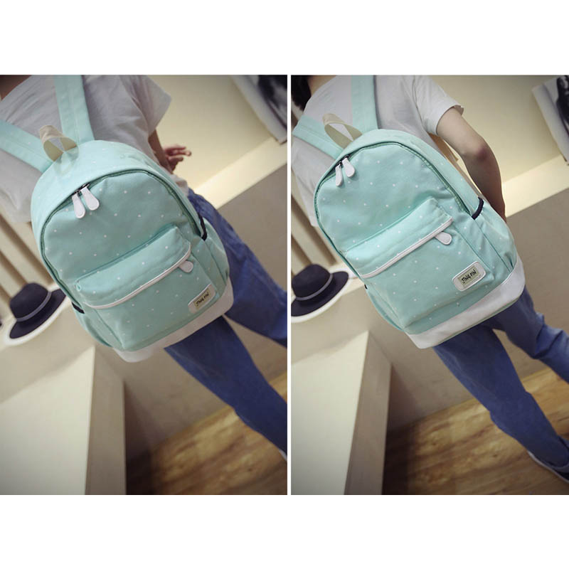 Women Backpack Purse Big-Girl Book-Bag Laptop Canvas Student Ladies with 3pcs-Set High-Quality