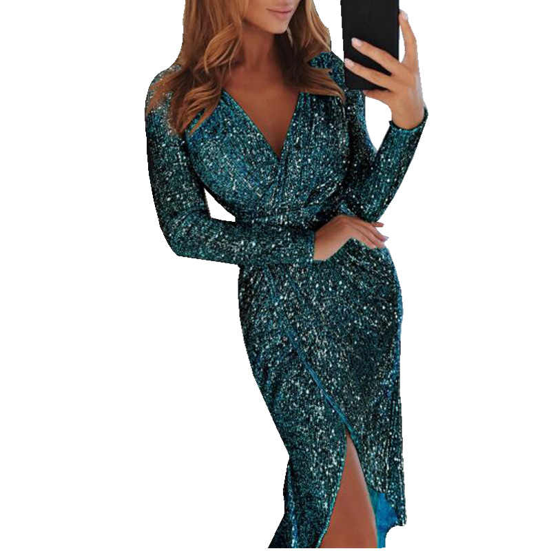 450d435f537 Sexy Club Wear Party Dress Women Silver V Neck High Slit Long Sleeve Sequin  Dress Autumn Asymmetrical Bodycon vestidos mujer