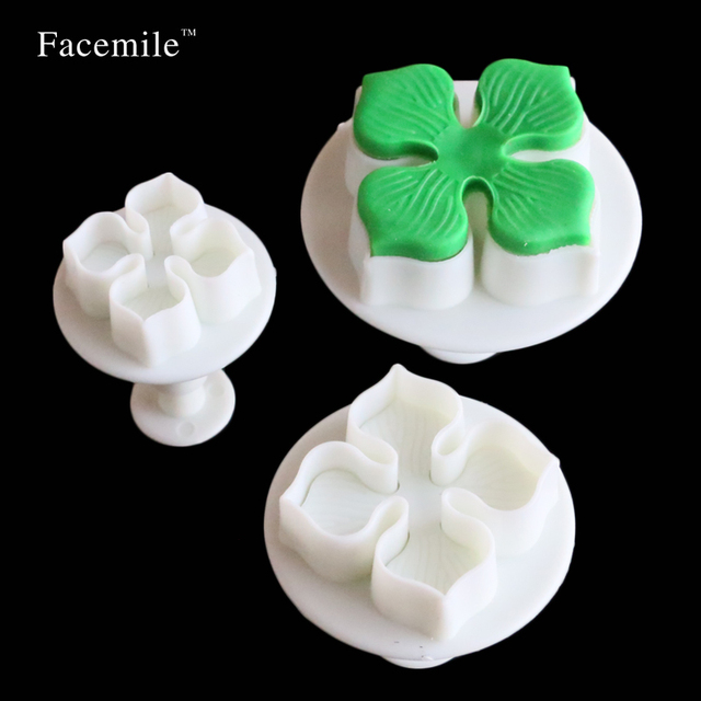 Plum Flower Clover Pattern Plastic 3D Stereo Biscuit Die Spring Sugar Embossing Die Cutter cookie Mold Gift Decorating