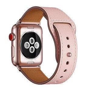 Image 2 - Pembe renk kadın deri saat kayışı kayışı Apple saat bandı saat kayışı 38mm 40mm , VIOTOO için hakiki deri WatchBand iwatch askı