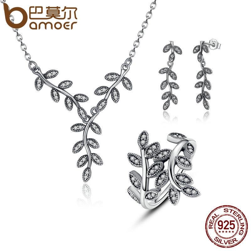 BAMOER 925 Sterling Silver Sparkling Leaves Leaf Long Pendant Necklace Silver Bridal Jewelry Sets Sterling Silver Jewelry ZHS010 bamoer 925 sterling silver