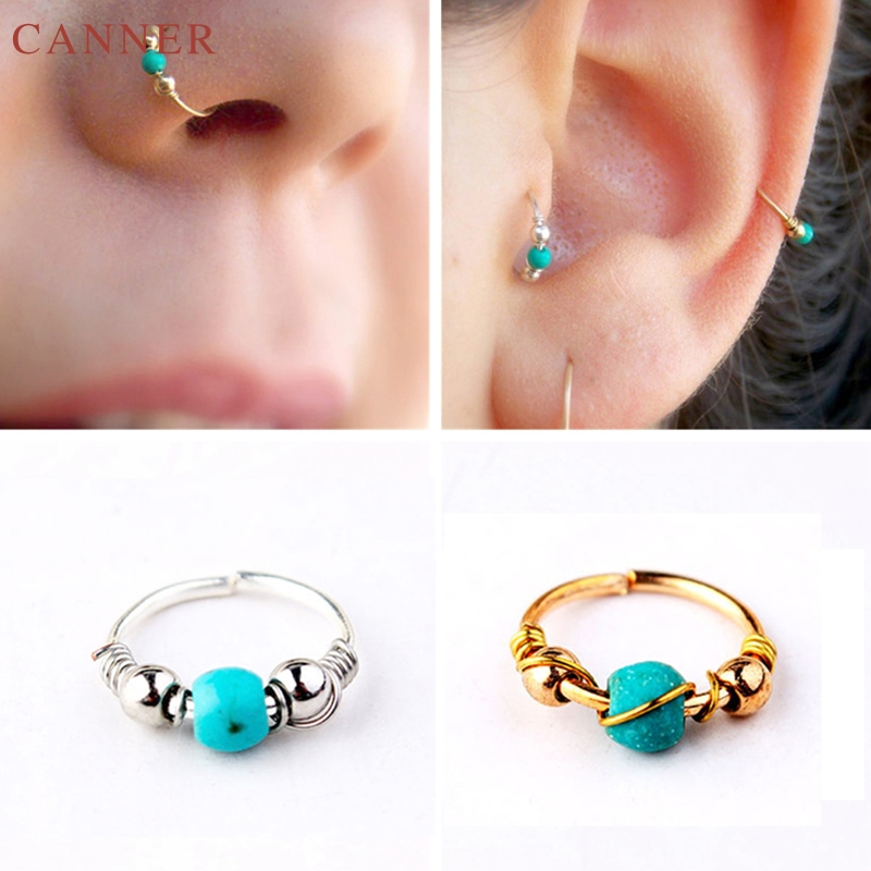 1pcs Fire Opal Stone Hoops Helix Piercing Ear Cartilage Septum Clickers Nose Ring Nipple Lip Tragus Body Piercing Jewelry C4