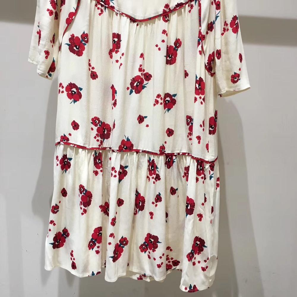 Frauen Halb Hülse Lose Mini Kleid Rote Blume Druck V ausschnitt Hohe Taille Sommer Kleid-in Kleider aus Damenbekleidung bei  Gruppe 3