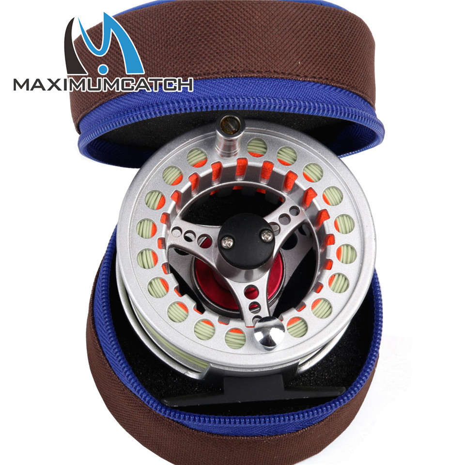 Maximumcatch Pre-spooled Fly Reel 5/6WT Large Arbor Aluminum Fly Fishing Reel & Reel Bag maximumcatch hvc 7 8 weight exclusive super light fly reel chinese cnc fly fishing reel large arbor aluminum fly reel