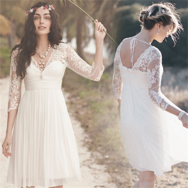 2019 Knee Length Wedding Dress A Line Lace Chiffon Three