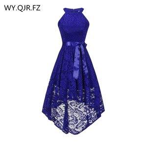 Image 1 - OML 526 # קדמי קצר ארוך בחזרה כהה כחול הלטר Bow שושבינה שמלות מסיבת חתונת שמלת נשף שמלה סיטונאי אופנה בגדים