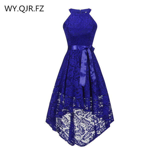 OML 526 # קדמי קצר ארוך בחזרה כהה כחול הלטר Bow שושבינה שמלות מסיבת חתונת שמלת נשף שמלה סיטונאי אופנה בגדים