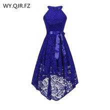 OML 526 # Front قصيرة طويلة الظهر الأزرق الداكن الرسن القوس فساتين وصيفة الشرف فستان حفلات الزفاف فستان حفلات الجملة ملابس عصرية