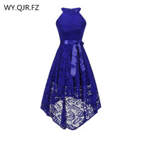 OML526#Front short long back dark blue halter Bow Bridesmaid Dresses wedding party dress prom gown wholesale fashion clothing