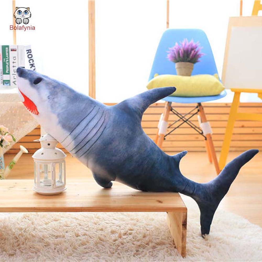 BOLAFYNIA Children Plush Stuffed Toy big white Shark pillow Baby Kids Toy for Christmas Birthday Gift