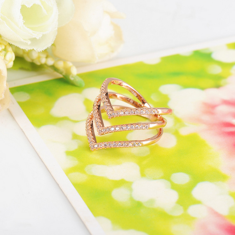 Promotion Sale Beagloer 17 New Fashion Ring Rose Gold Color Trendy Three V Shape Ring for Women CRI1034 7