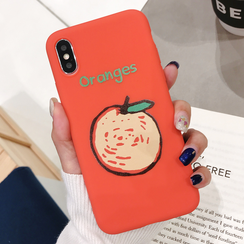 KIPX1090D_1_JONSNOW Phone Case for iPhone XR XS Max 6S 7 8 Plus Embossed Fruit Style Lemon Watermelon Strawberry Patterns Soft Silicone Cover