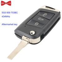 KEYECU for Volkswagen MQB Golf VII MK7 for Skoda for Octavia A7 Flip Remote Control Car Key Fob 434MHz ID48 Chip 5G0 959 753BC
