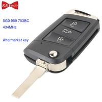 KEYECU for Volkswagen MQB Golf VII MK7 for Skoda for Octavia A7 Flip Remote Control Car Key Fob 434MHz ID48 Chip 5G0 959 753BC