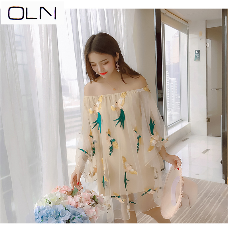 Dress Summer Vestidos Korean OLN New Arrival  new sexy word collar heavy embroidery mesh dress Платье