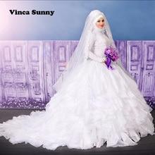 Vinca Sunny Luxury Muslim Wedding Gowns With Hijab Long Sleeve Applique Lace Bridal Gowns Arabic Style vestido de noivas 2017