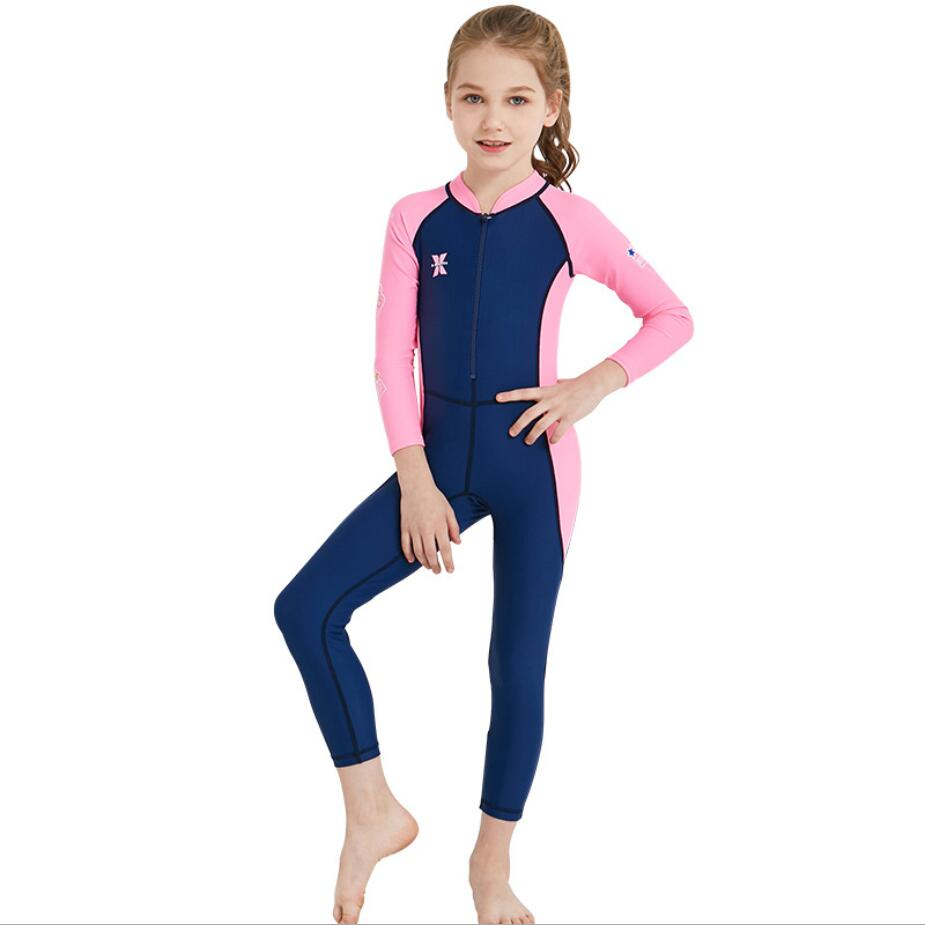 6a277d7251 UPF 50+ Spring summer Kids Wetsuit Lycra Wet Suits Full Body One-piece Back  Zip Long Sleeve Swimwear Swimsuit Pink boy Girls 354
