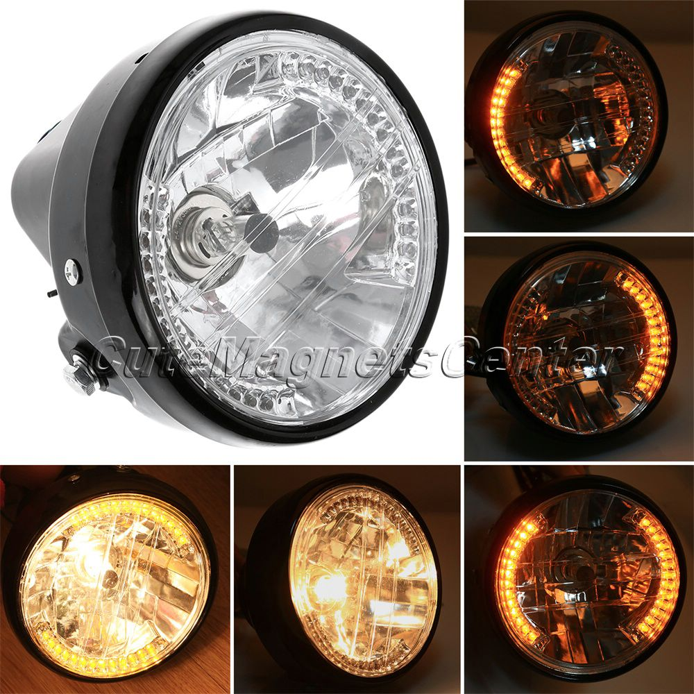 """1Pc 7"""" Motorcycle Round Headlight Halogen H4 35W Yellow LED Head Lamp Amber Turn Signal Projector For Harley Bobber Cafe Racer"""