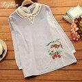 Ardilla bordado Flojo Mujer Blusa de Algodón Mujeres Embarazadas Camisas Ropa de Mujer Embarazada Vestido de Maternidad Para la Mujer Embarazada