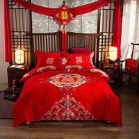 Roupa de Cama de casamento Vermelho Conjuntos de Cama Queen Size Rei Algodão Lixado Impressão de Boa qualidade engrossar capa de edredão folha plana fronha