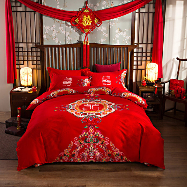 Wedding Red Bedlinen Print Bedding Sets Queen King Size Sanded Cotton Good Quality Thicken Duvet Cover Flat Sheet Pillowcase