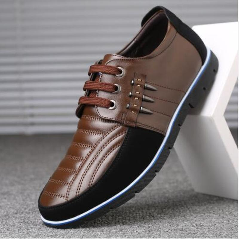 Luxury Leather Shoes Men Flat Lace-up Mens Shoes Casual Big Sizes Men Leather Shoes Mocassins Breathable Genuine Leather