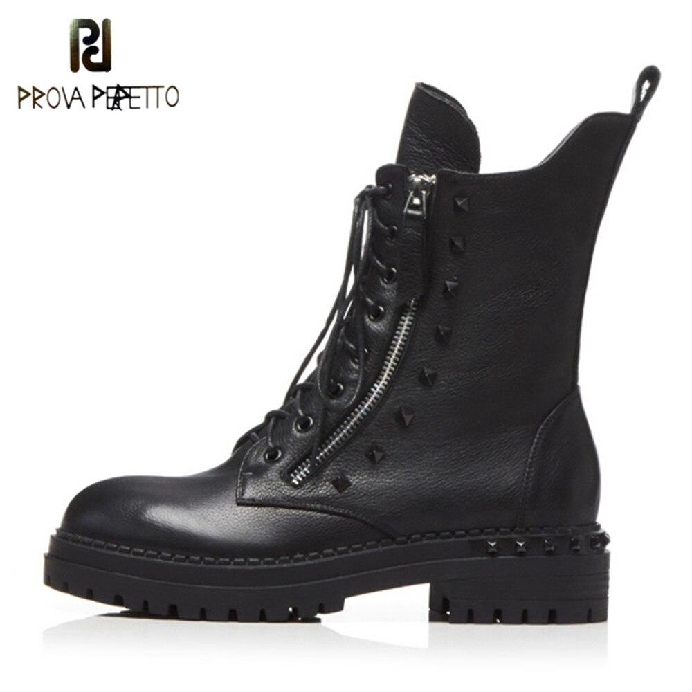 Prova Perfetto Novas Mulheres Ankle Boots de Alta Qualidade Hand-made do Couro Genuíno Botas Dedo Do Pé Redondo rendas até Sapatos de Mulher calçado feminino