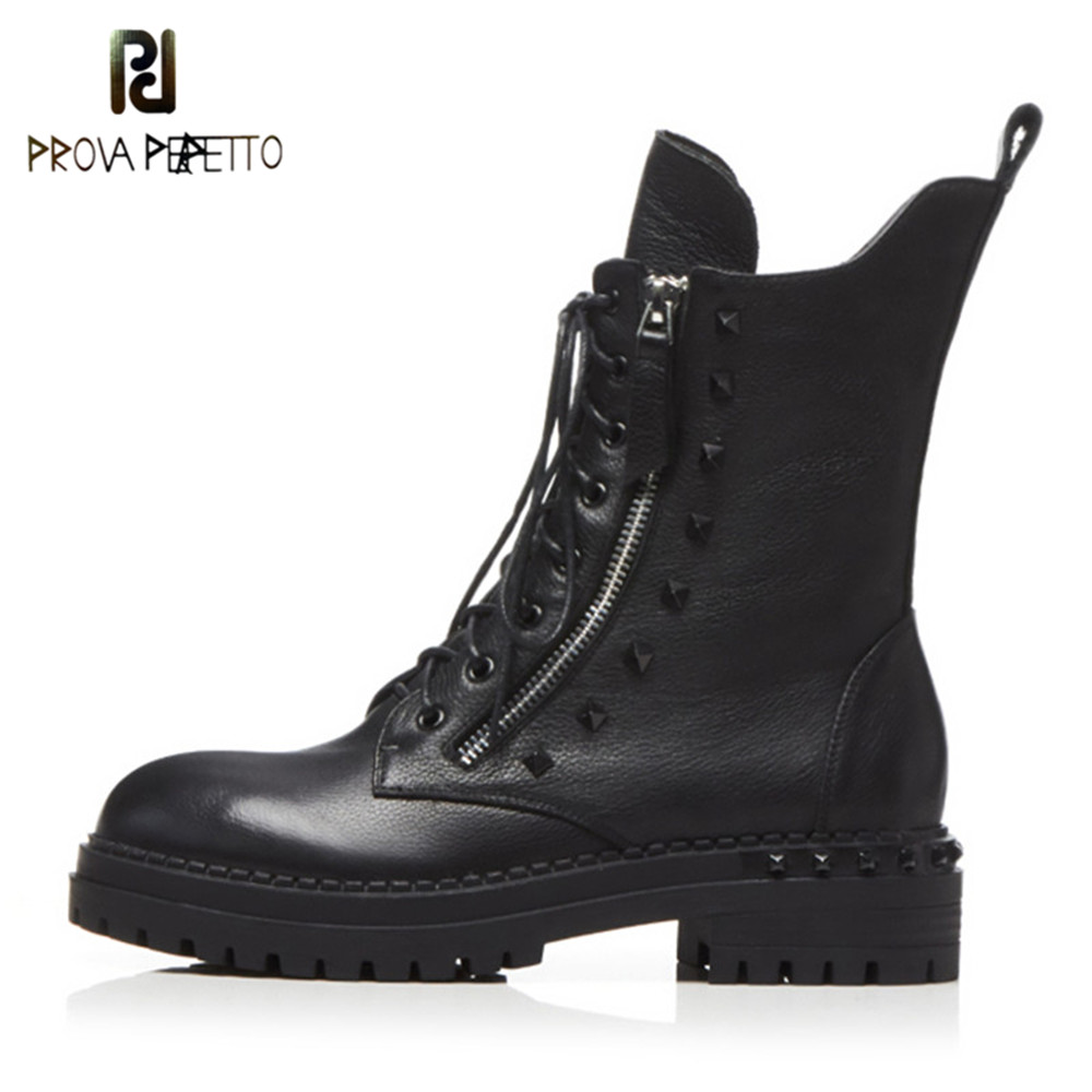Prova Perfetto nowy wysokiej jakości kobiety botki ręcznie wykonane z prawdziwej skóry kobieta buty okrągłe Toe wiązane buty obuwie damskie w Buty do kostki od Buty na  Grupa 1