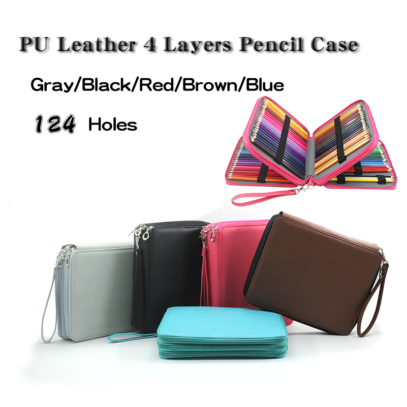 124 Holes 4 Layer Pencil Case Portable Large Capacity PU Leather School Pencil Bag For Colored Pencils Watercolor Art Supplies купить