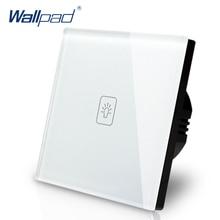 1 Gang 2 Way 3 Way CE Approved EU Light Switch Wallpad White Glass Round Box European 2 Way Wall Touch Switch EU Free Shipping