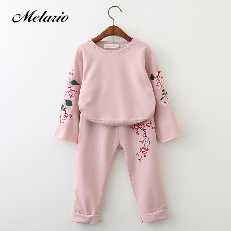 Melario Girls Clothing Sets 2018 Active Suits Girls Clothes Long Sleeve Sweatshirts+Pants Kids Clothing Sets 3-7Y Children Suits bear leader girls sets 2017 new autumn pink houndstooth knitted suits long sleeve plaid sweater skit 2pcs kids suits for 3 7y