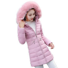 2017 Winter Long Women Parka Slim Wadded Female Hooded Jackets Warm Cotton-padded Faux Fur Collar Fashion Ladies Outwears YP0438